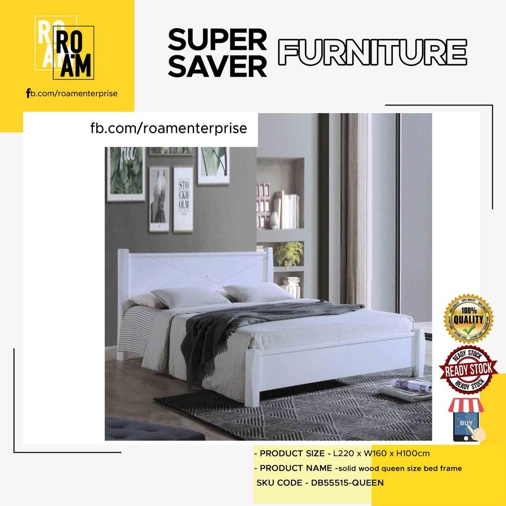 ALEXANDER DB55515 solid wood queen size bed frame WHITE COLOR katil tilam bed queen frame