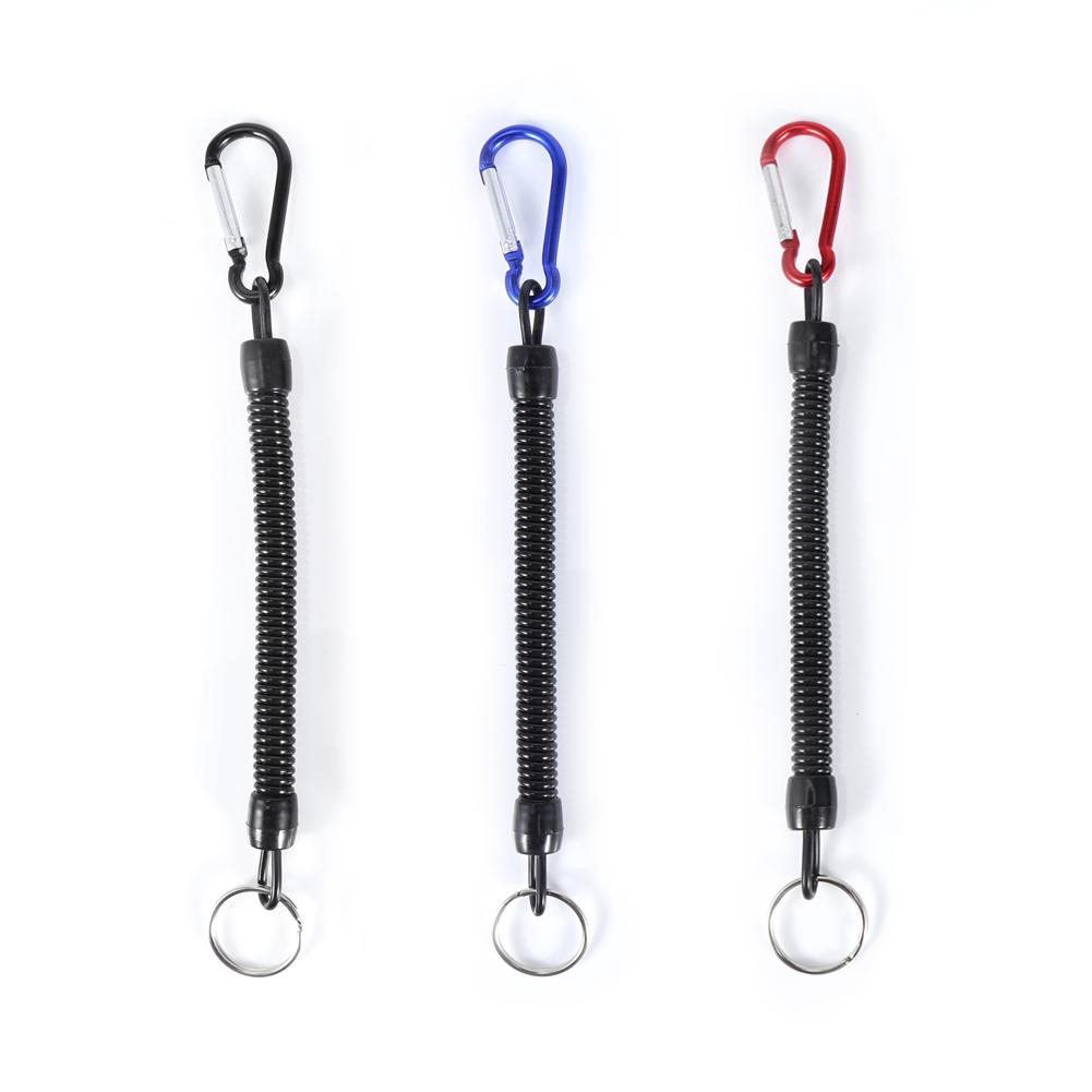 5x Retractable Full Extension Rope Pliers Lanyard Coiled Spring Fishing Camping