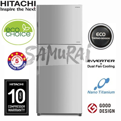 HITACHI INVERTER DUAL FAN 2 DOOR FRIDGE RV490P8M BSL 443L