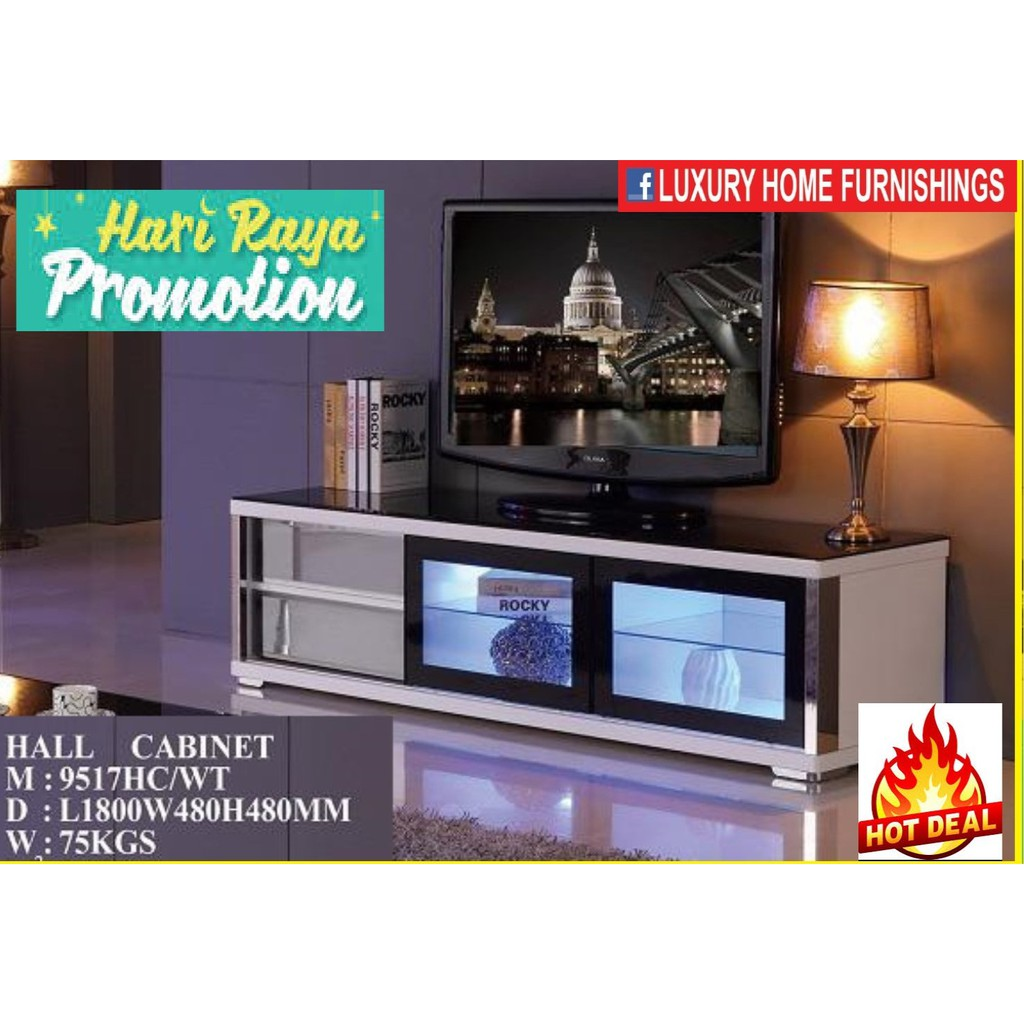 6ft High Gloss & Term-pared GLASS TOP Modern TV CABINET, white COLOR, IMPORTED Series!! RM 2,089!! 35% Off!