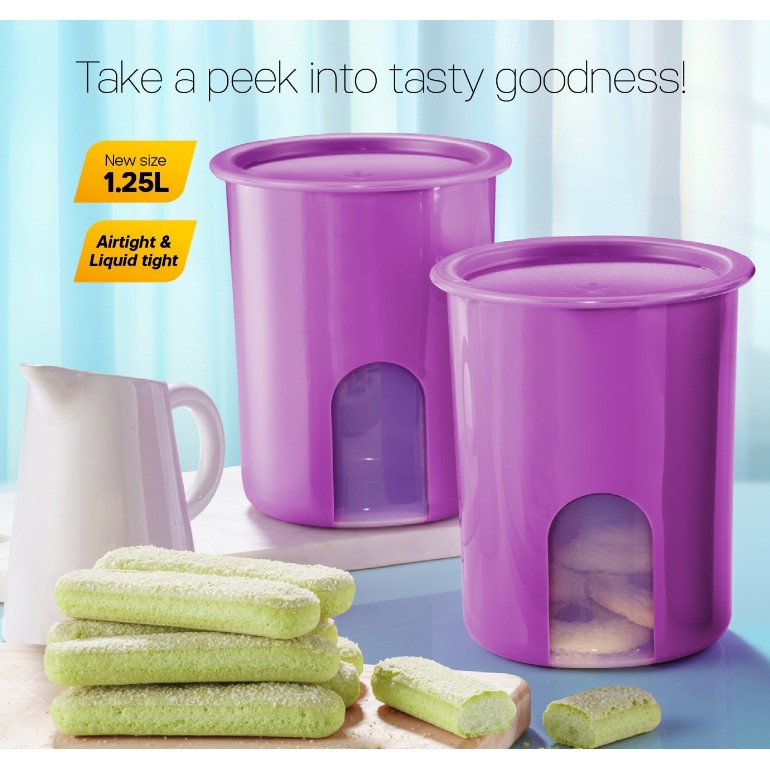 Tupperware One Touch Window Canister 1.25L