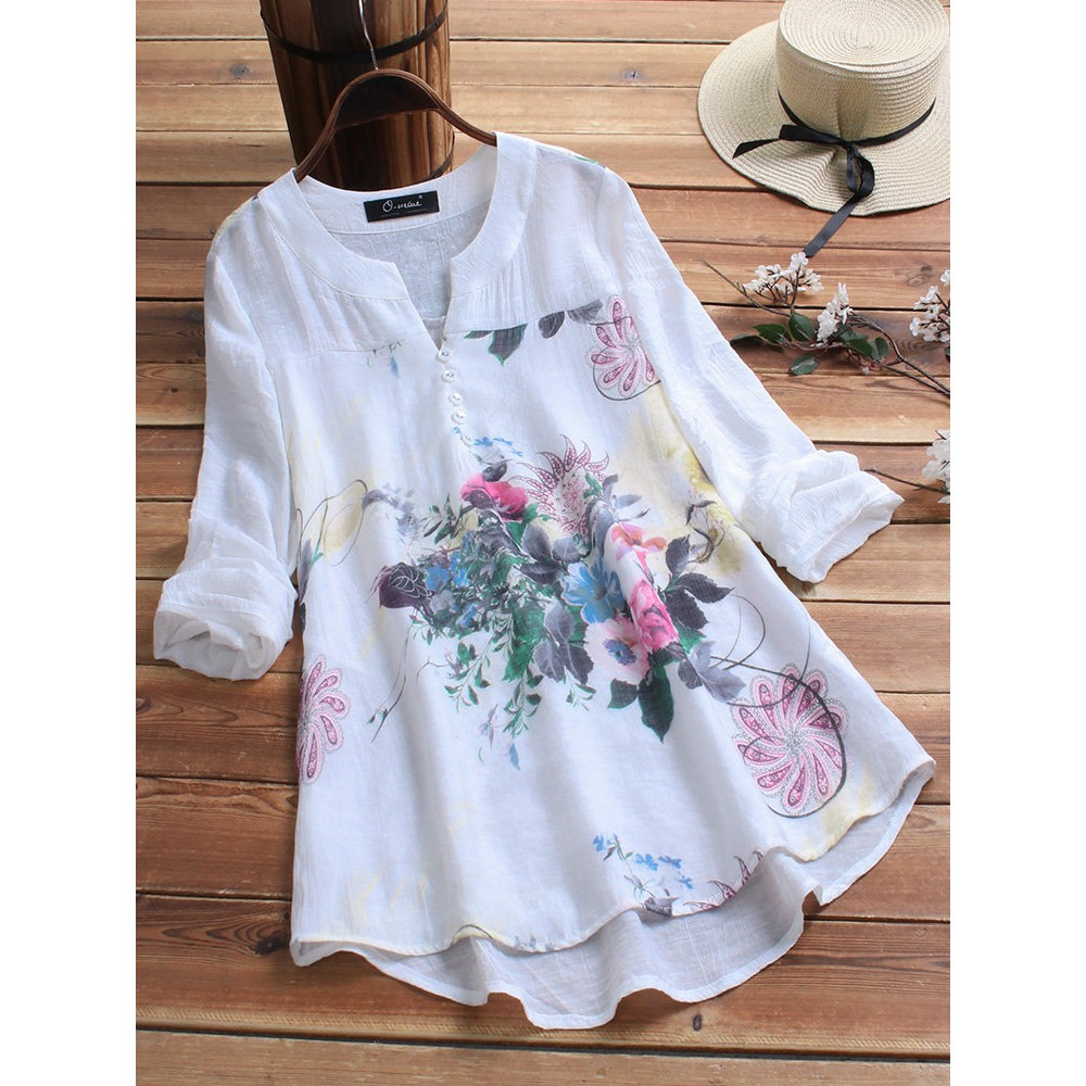 1abf82133d Women Floral Print Blouse Plus Size Cotton Patchwork Vintage Tops Buttons  Shirts