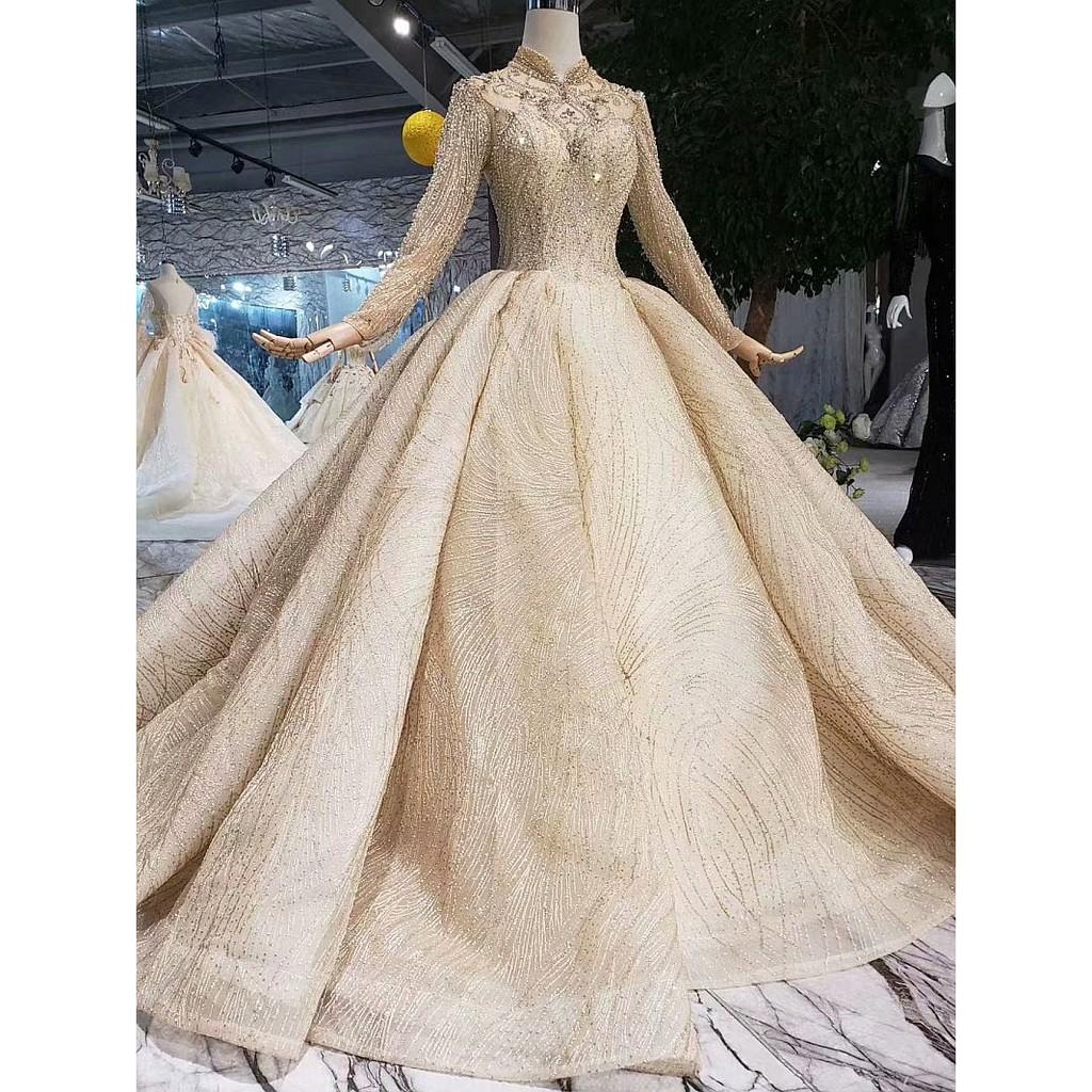 BEAUNIQUE Grand Long Sleeve Baju Pengantin Premium Wedding Gown Bridal  Dress Empire Palace Theme Muslimah Wedding Dress