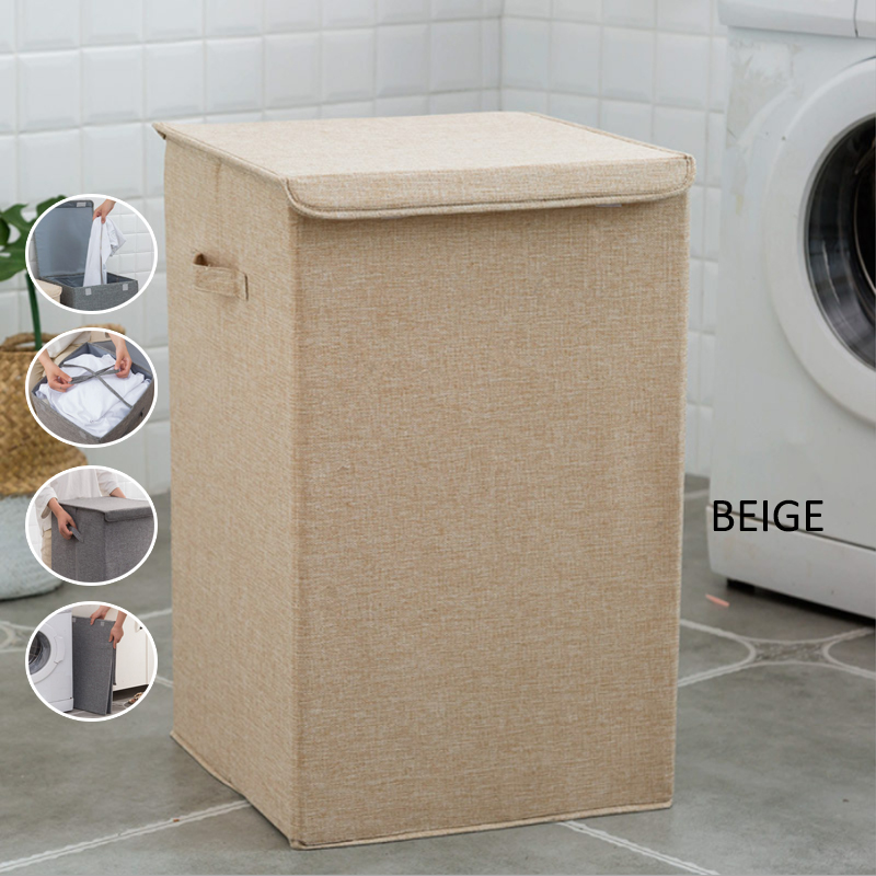 GDeal Cotton And Linen Large Lightweight Waterproof Folding Laundry Dirty Clothes Storage Box