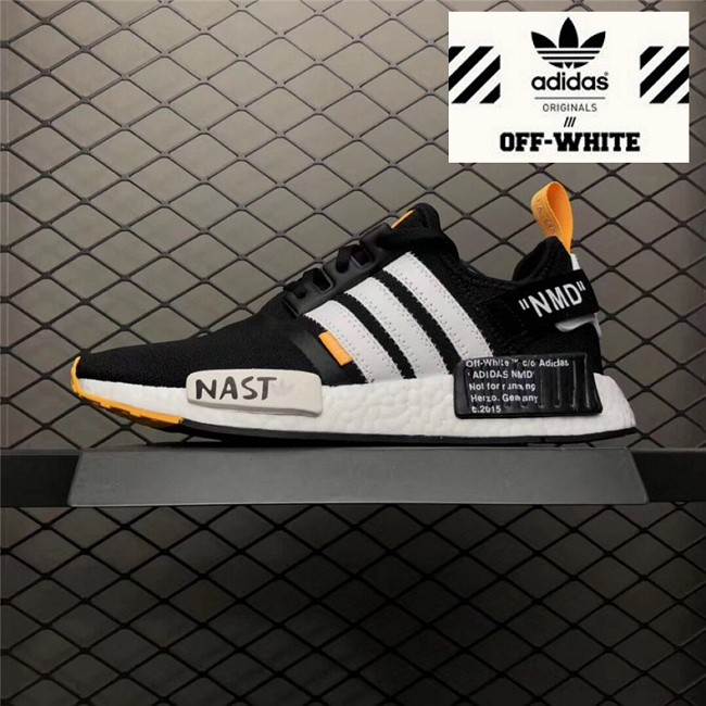 0246736c8b62c OFF-WHITE X Adidas NMD R1 PK Men Black White Orange Running Shoes ...