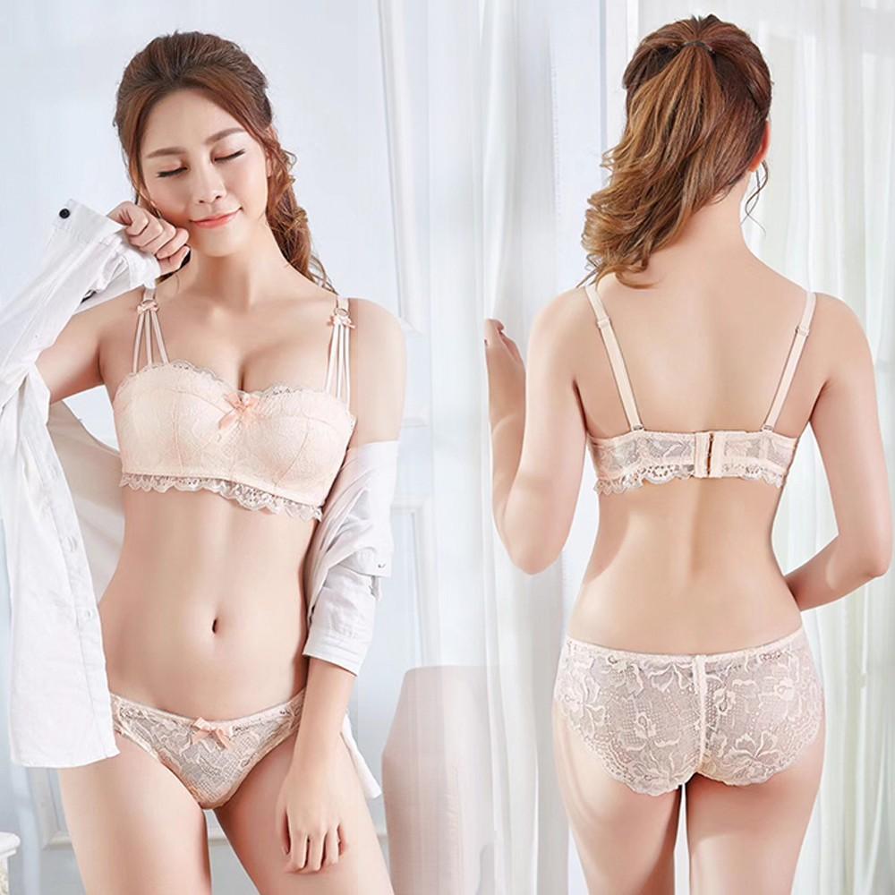 27dfe8f7e795 Women Bra Sets Lingerie Girls Lady's Lace Glossy Bras Underwear + Panties