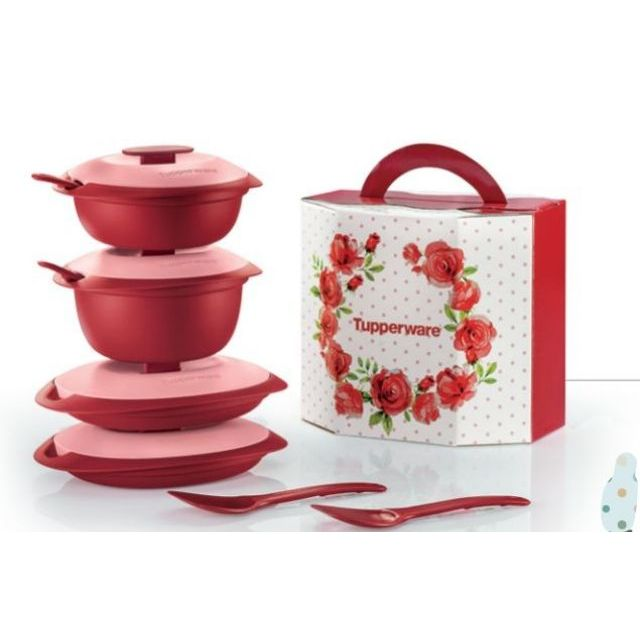 Tupperware Petit Royal Red Serving Set / Petit Merah
