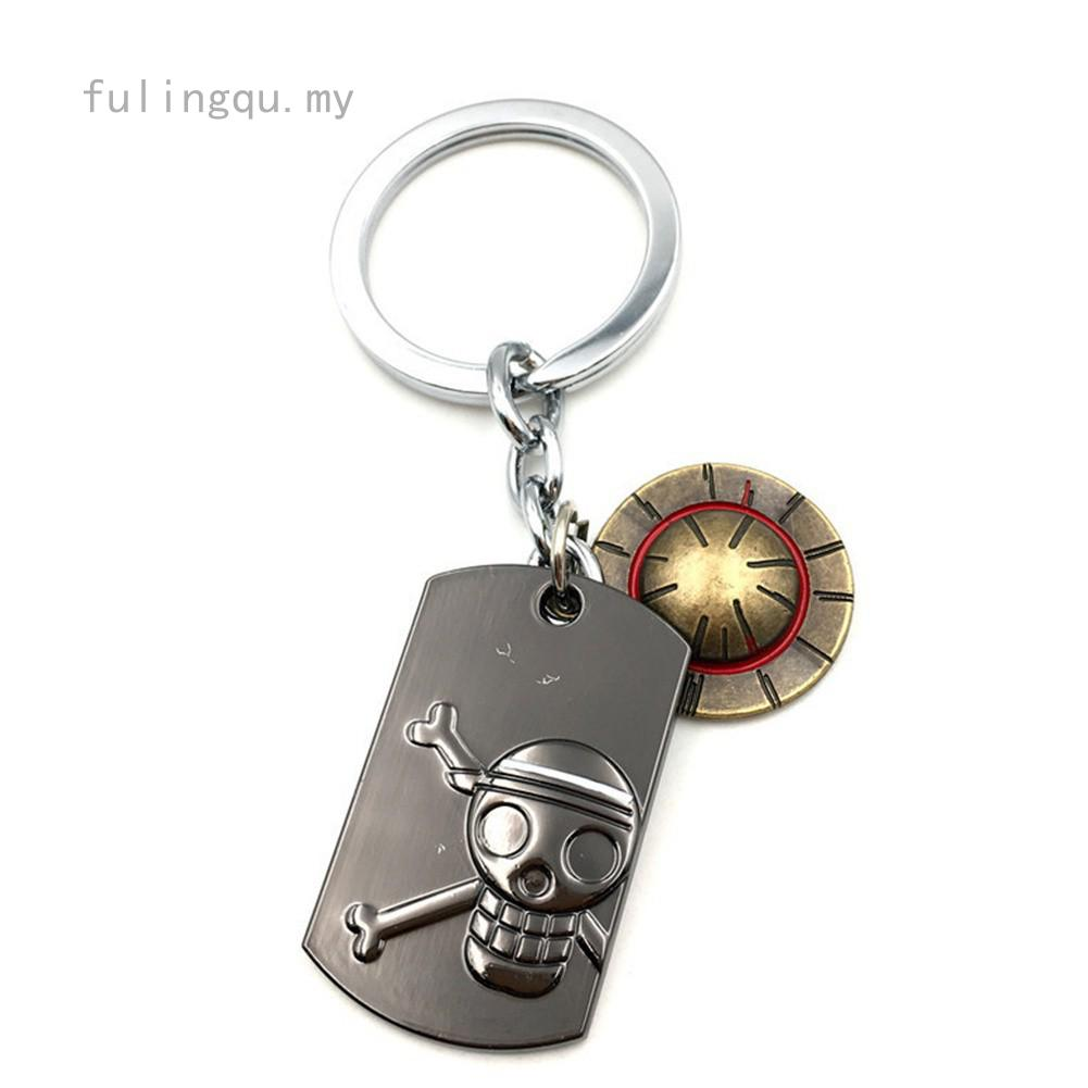 One Piece Portgas D Ace hat Cosplay Double Keychain Keyring  Pendant Gift