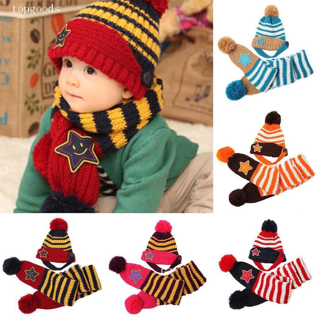 69dd082d Kids Toddler Striped Stars Pom-pom Hat Beanie Cap with Neck | Shopee  Malaysia