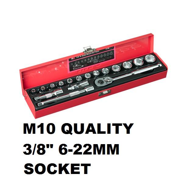 "M10 QUALITY 3/8"" 6-22MM 6PT SOCKET RACHET EXTENSION BAR UNIVERSAL JOINT SET 313M"