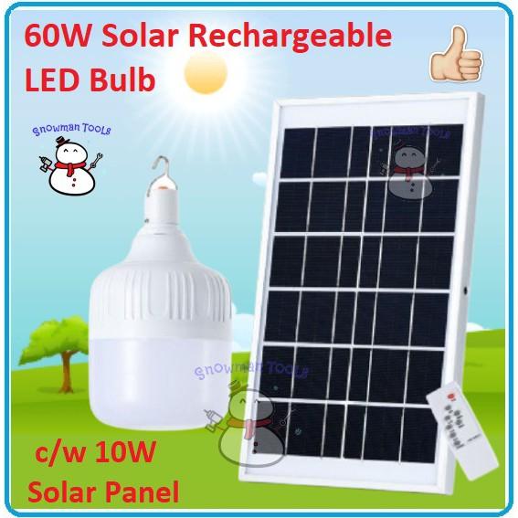 Solar Bulb Power Rechargeable 60W Energy-Saving LED Lamp Frame Night Market Lamp Outdoor Camping Solar Panel lightbulb