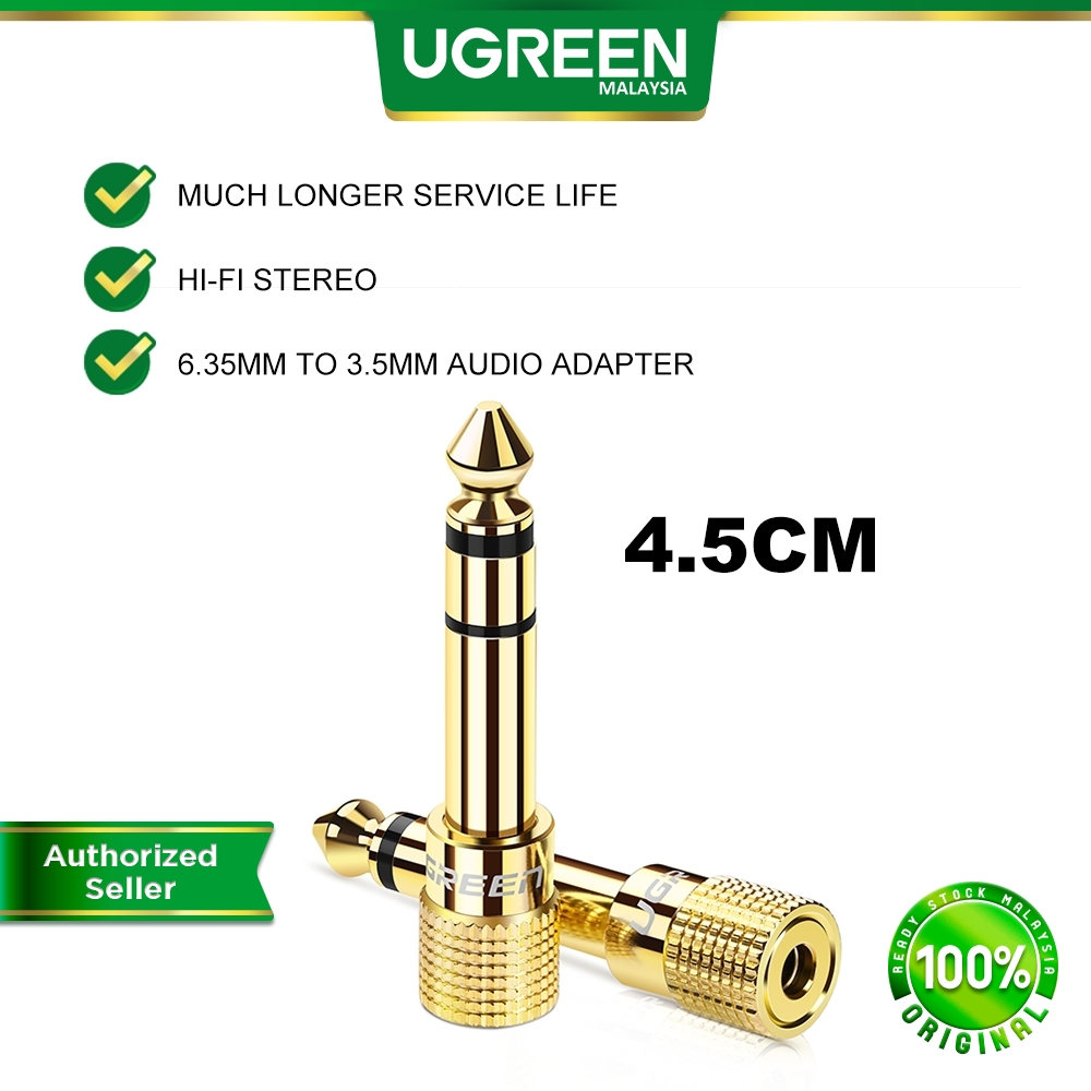 UGREEN 4.5CM Gold Plated 6.35mm Male to 3.5mm Female Adapter Stereo Audio Converter Connector Home Audio Equipment