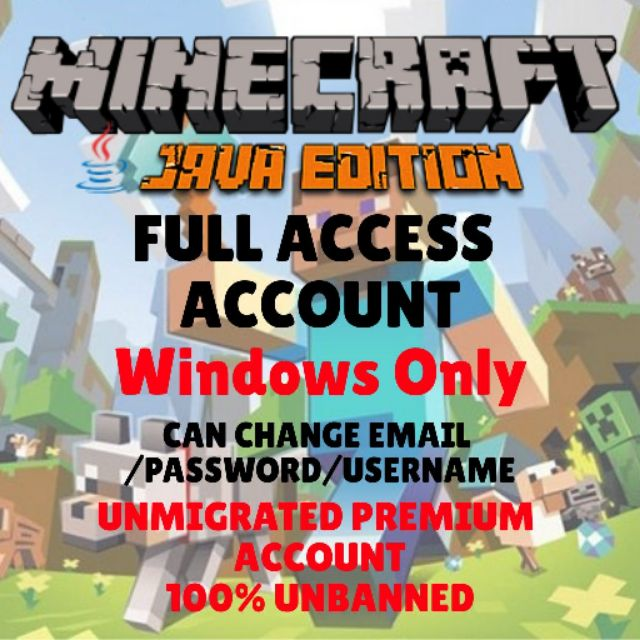 Minecraft Java Edition Full Access Acc + Free Code Minecraft Windows 10  Edition