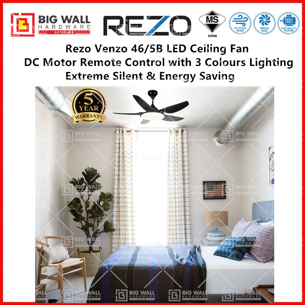 Rezo Venzo 46/5B LED Ceiling Fan with DC Motor Remote Control Ceiling Fan with Lighting Extreme Silent Fan Timer Power