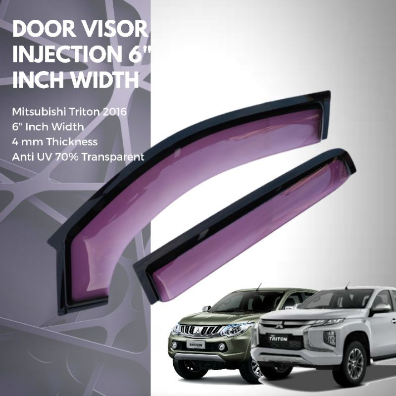 "ANTI UV ACRYLIC INJECTION DOOR VISOR ( 2 TONE) 6"" Inch Width for Mitsubishi Triton 2016-2019"