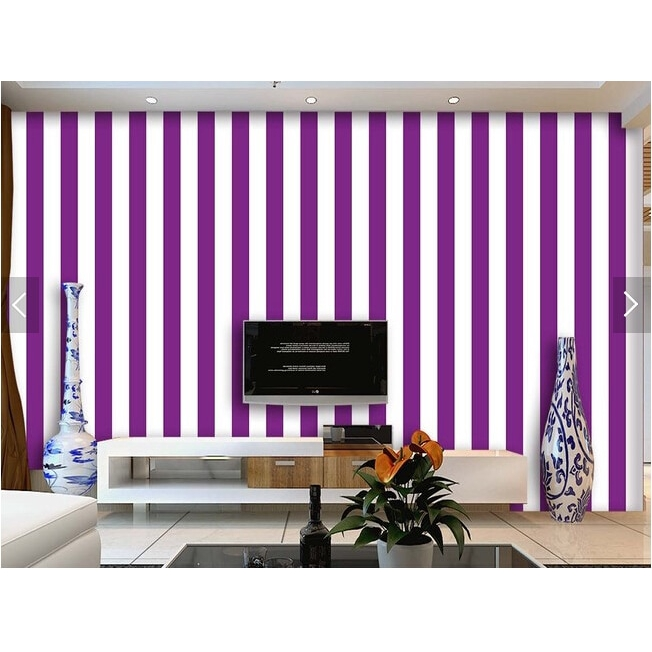 Custom Striped Wallpaper Purple And White Stripes For The Living Room Bedroom Tv Background Wall Waterproof Papel De Parede Shopee Malaysia