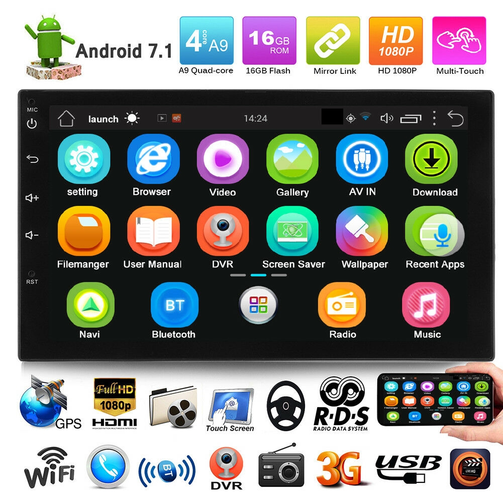 """Android 7.1 Double 2 DIN 7/"""" Quad Core 3G Car Stereo MP5 Player WIFI GPS FM Radio"""