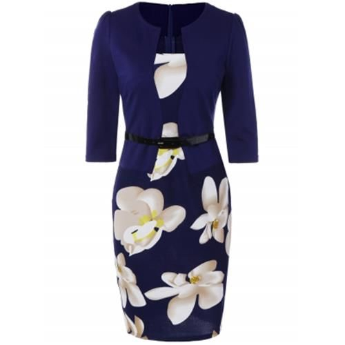 FLORAL KNEE LENGTH PENCIL FITTED WORK DRESS (PURPLISH BLUE)