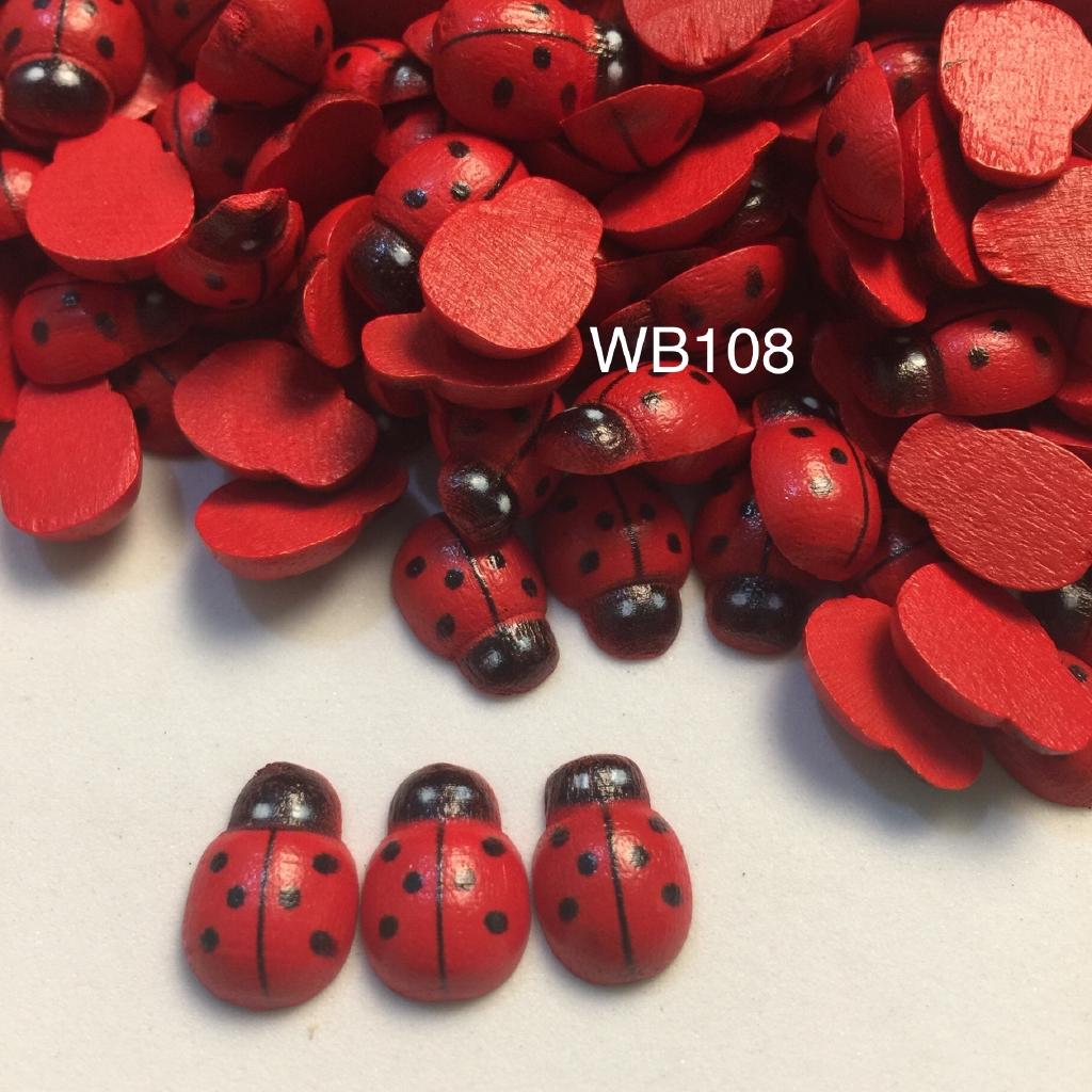 100 Colorful Wooden Ladybug Ladybird Flatback Embellishment Cardmaking Craft