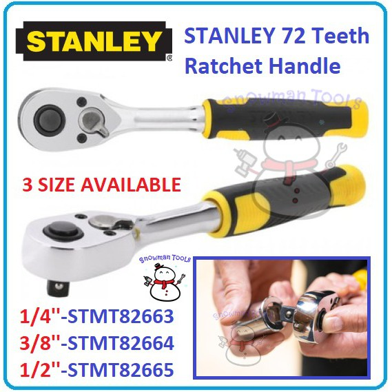 STANLEY 72 Teeth Ratchet Handle 1/4'' 3/8'' 1/2'' STMT82663 STMT82664 STMT82665 OPEN BUKA SOCKET NUT BOLT TOOL RATCHET