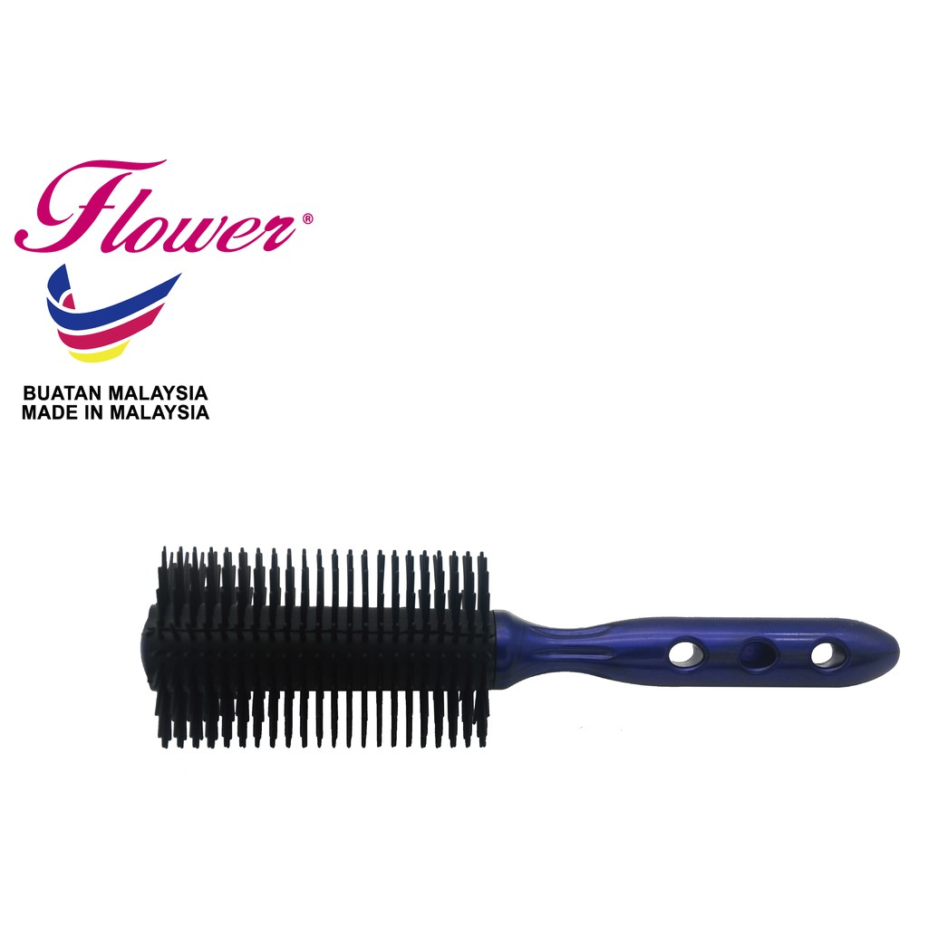 Flower Brush with Black Round Bristle Hair Brush Hair Styling Made in Malaysia (Sikat/Berus Rambut/B