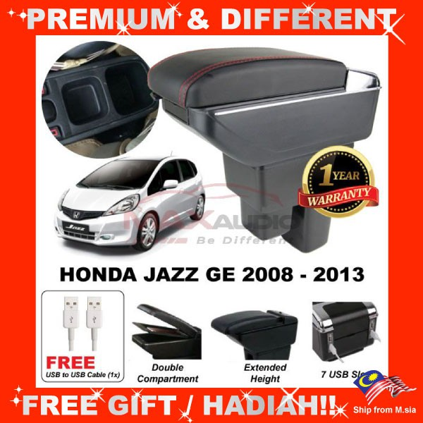 [FREE GIFT Gift] HONDA JAZZ GE 2008 - 2013 COMFORT ADJUSTABLE ARMREST 7 USB PORT