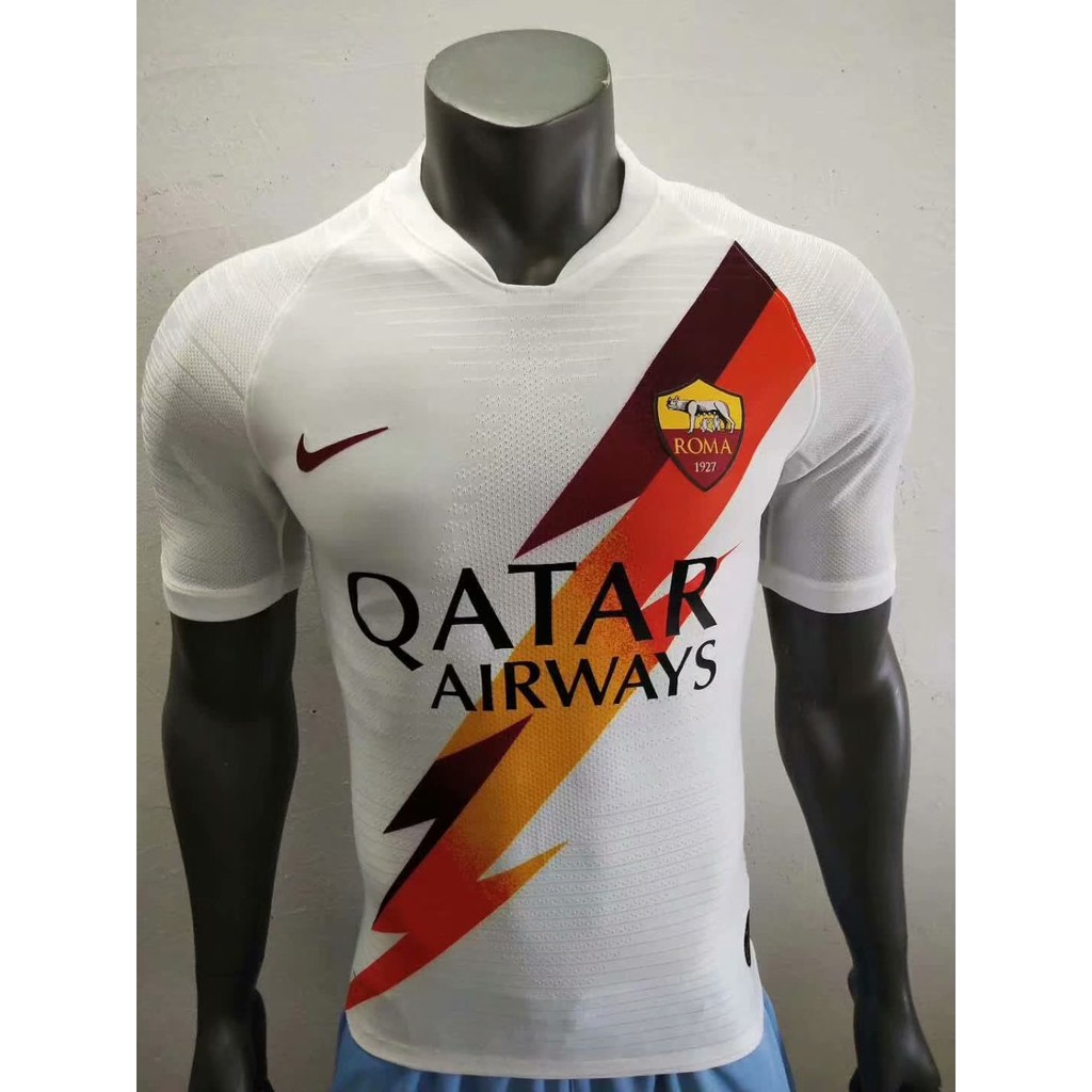huge selection of fa338 0dec4 2019-2020 AS Roma Player Version Away Football Jersey White Soccer Shirt