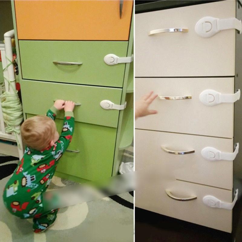 1//5//10 Child Baby Cupboard Cabinet Safety Lock Pet Proofing Door Drawer Fridge