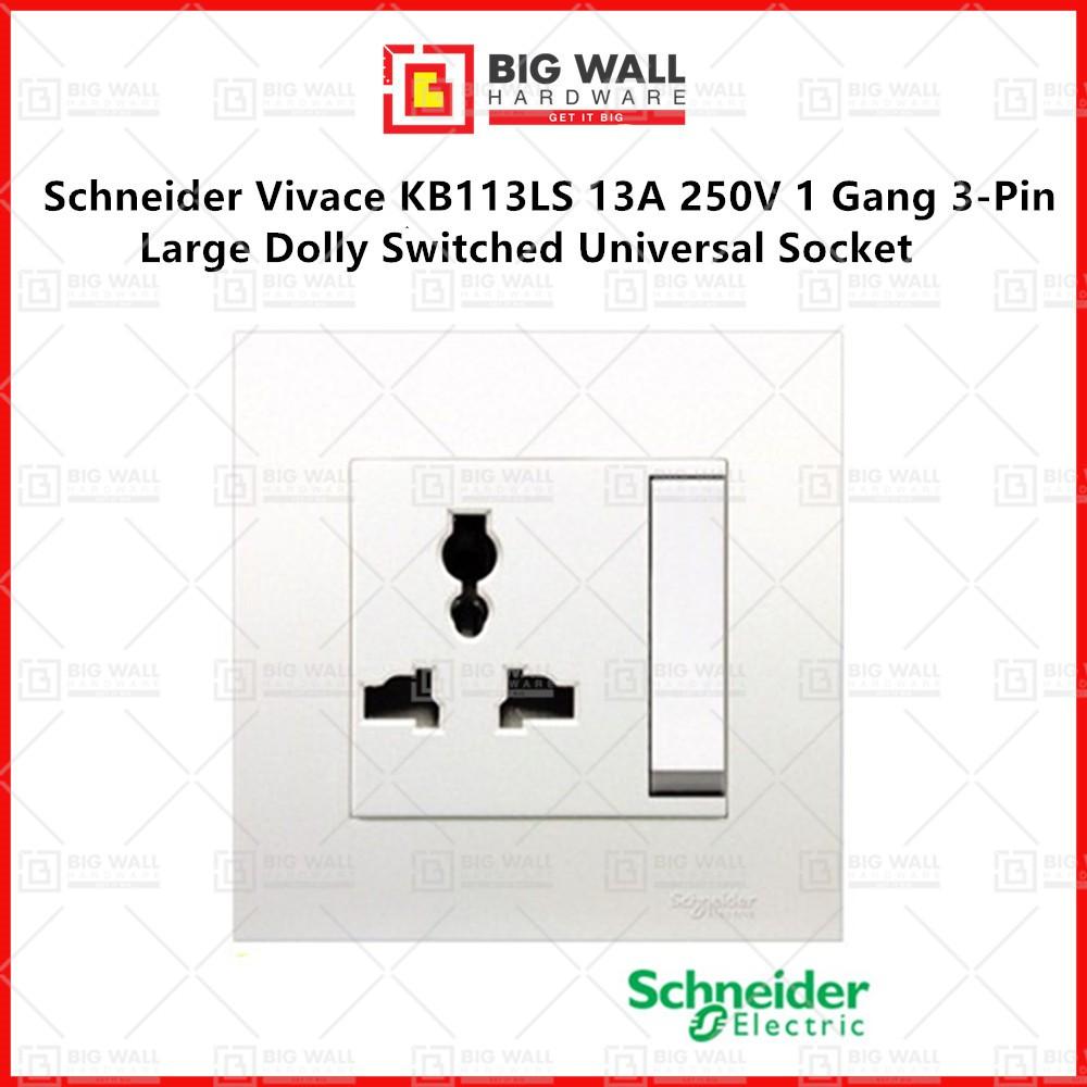 Schneider Vivace KB113LS 13A 250V 1 Gang 3-Pin Large Dolly Switched Universal Socket Big Wall Hardware