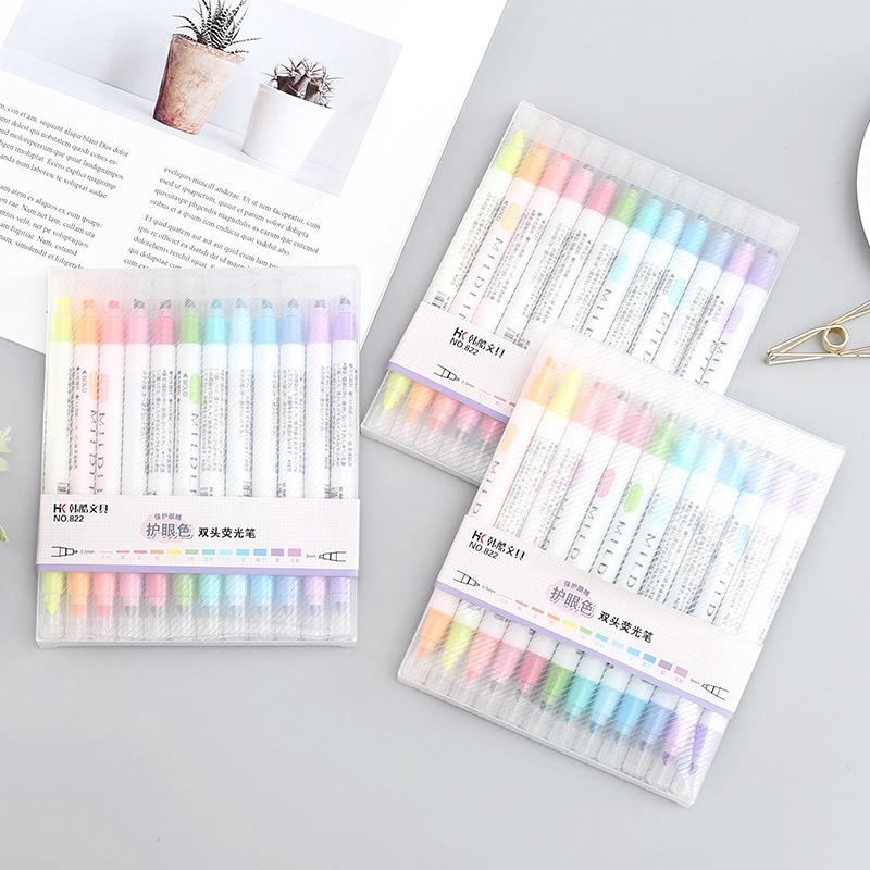 12 Color Double-head Highlighters Pen Decoration Markers for Student