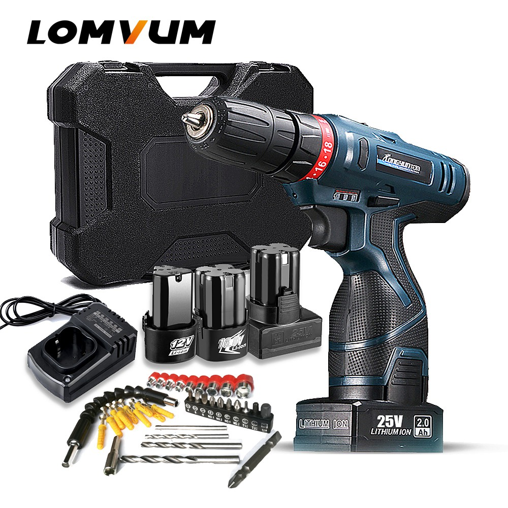 🔥LOMVUM Screwdriver Drill Rechargeable Cordless Electric Hand Drill Power  Tools