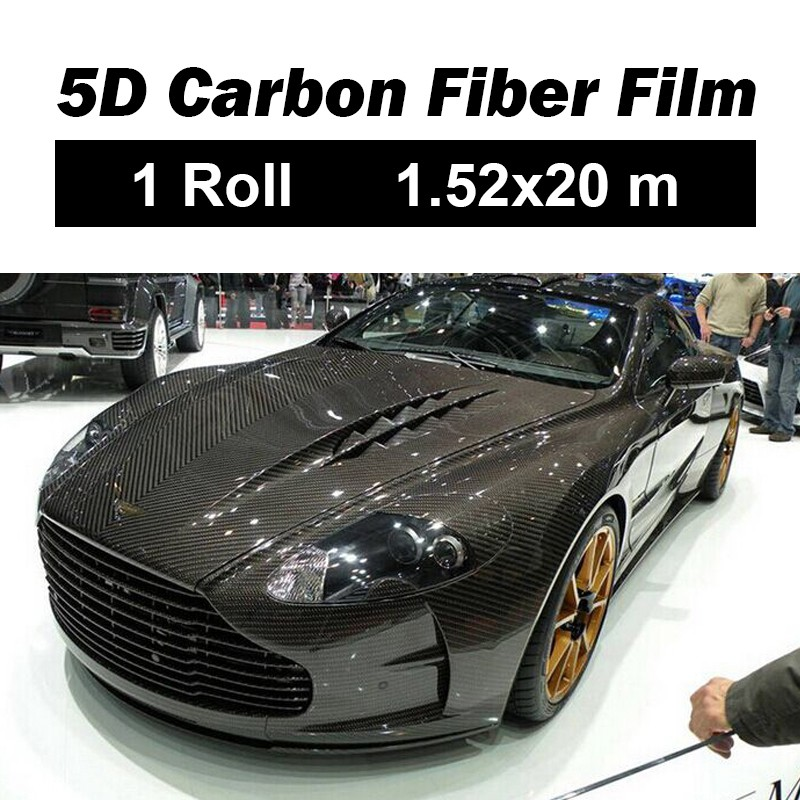 1roll Car Body Film Black Carbon Fiber Vinyl Self Adhesive Car Wrap Sticker