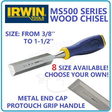 WOOD CHISEL IRWIN BRAND WOOD CHISEL MS500 METAL END CAP PROTOUCH GRIP BEVEL EDGE 1/4'' 3/8'' 1/2'' 5/8'' 3/4'' 1'' INCH