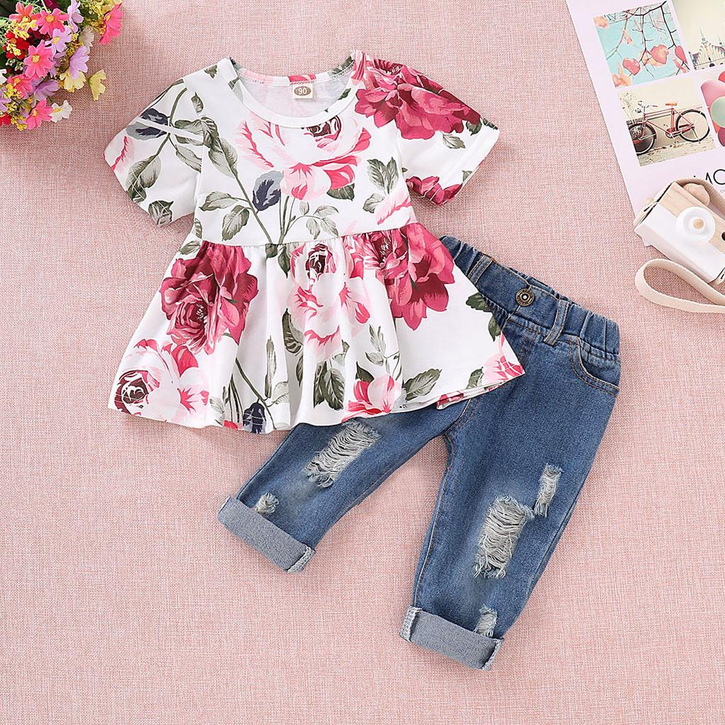 702bd69504e Baby Girls Floral Crop Tops+Hole Denim Pants Jean Toddler Kids Clothes  Sets🍂