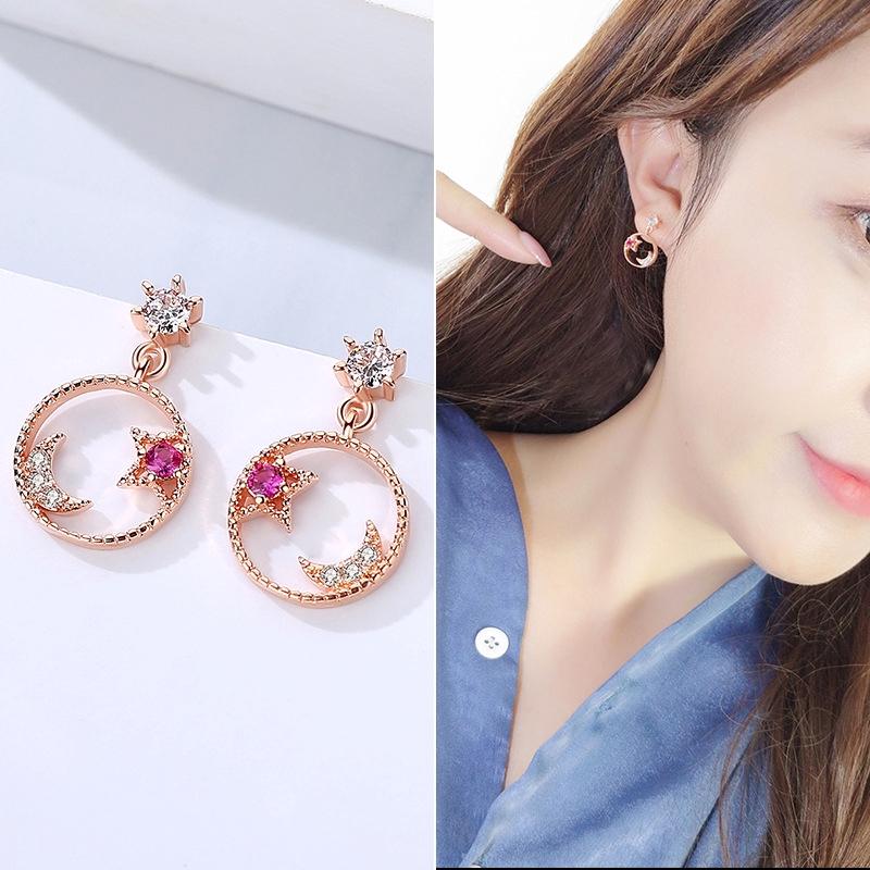 636270383df30 Korean Elegant Star Moon Earrings Women Fashion Silver Ear Nail Jewelry