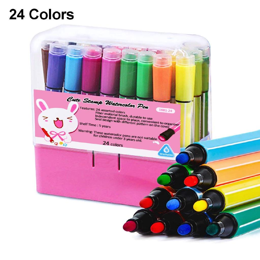 24 Colors Kids Coloring Marker Pen With Stamper Non Toxic Washable Stamp Markers