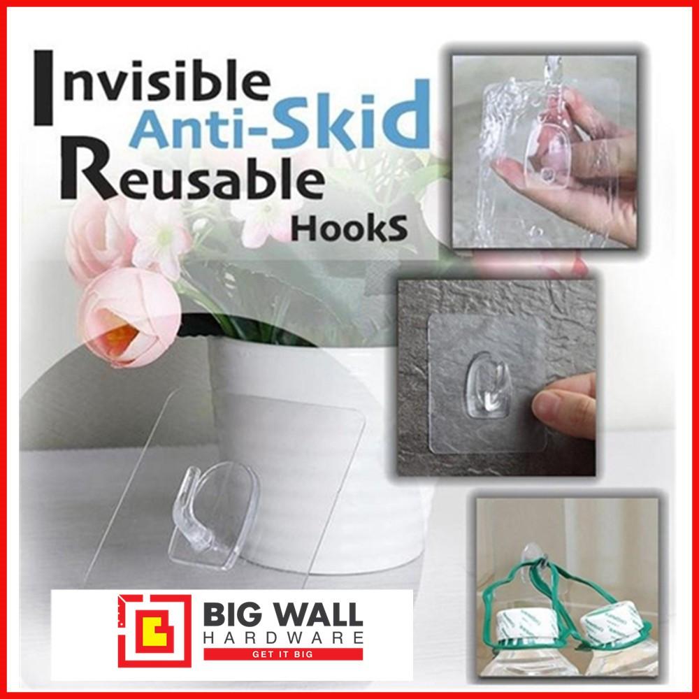 Transparent Wall Hanger Reusable Anti-skid Hook Waterproof Adhesive Hook Kitchen Bathroom Tools