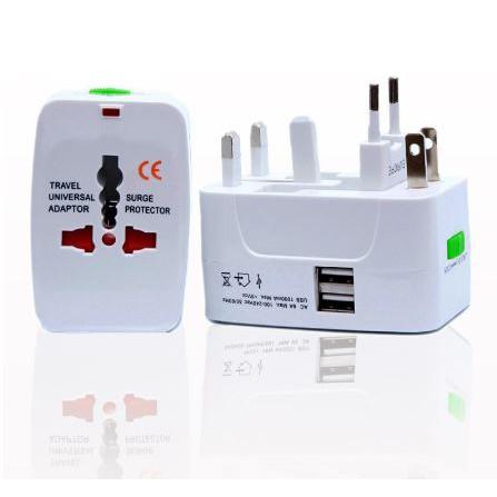 Universal Plug 2 USB Travel Adapter AC Power Charger Converter World International Plug Adaptor