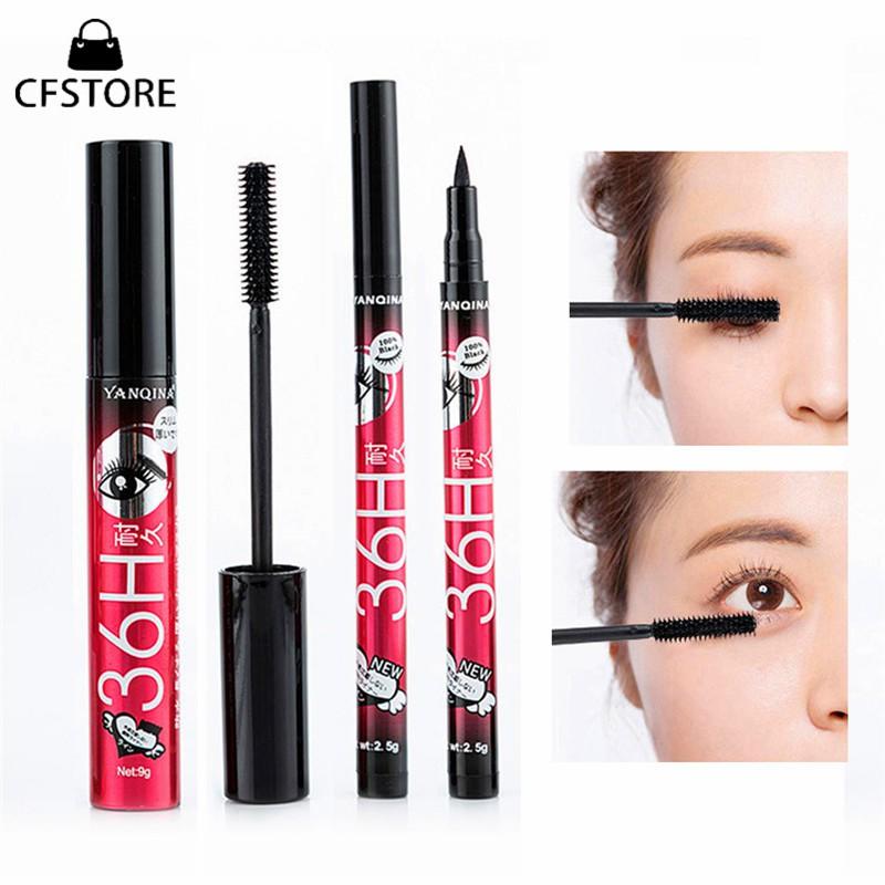 CF YANQINA 36H 2 In 1 Liquid Eyeliner Pen Mascara Set Waterproof Eye Pencil Thick Curling Mascara