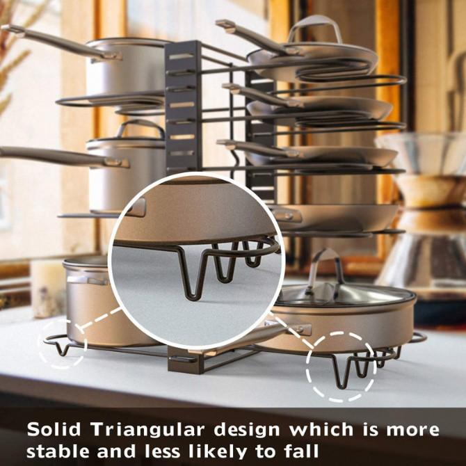 Pot Rack Lid Cover Rack Pan Rack Plate Bowl Rack Dish Pot Lid Drying Rack Drainer Dryer Tray Rak Periuk Kitchen Storage