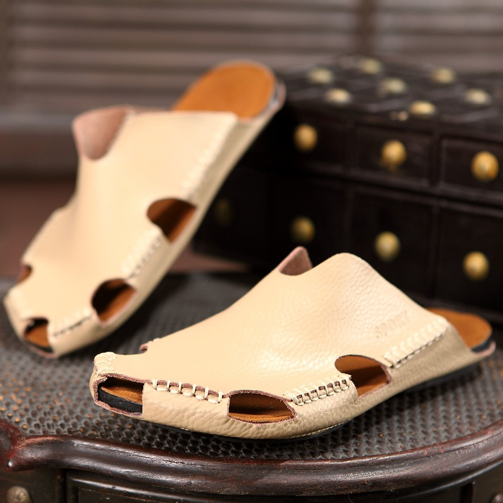 8b077cf5c3b5 Cross-border men's leather slippers, sandals, holes, sandals, men's Korean  versi