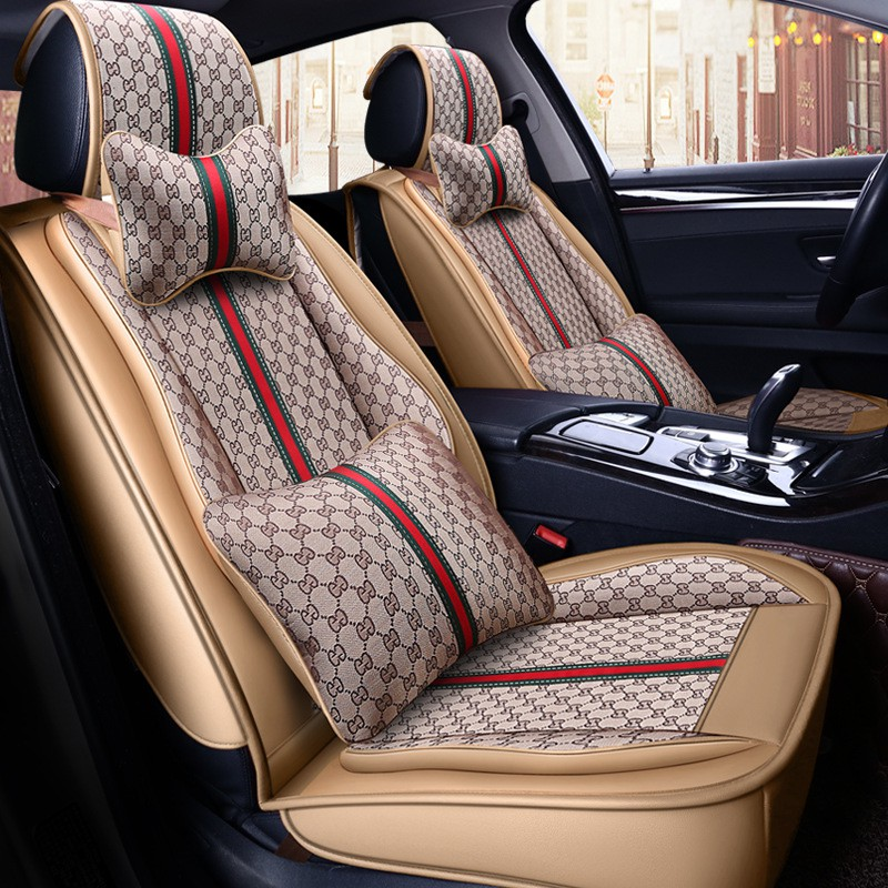 Four Seasons Universal Ice Silk All-Inclusive Seat Cover Car Seat Cushion Non-Slip Five-Seat Seat Cover,D Breathable and Comfortable