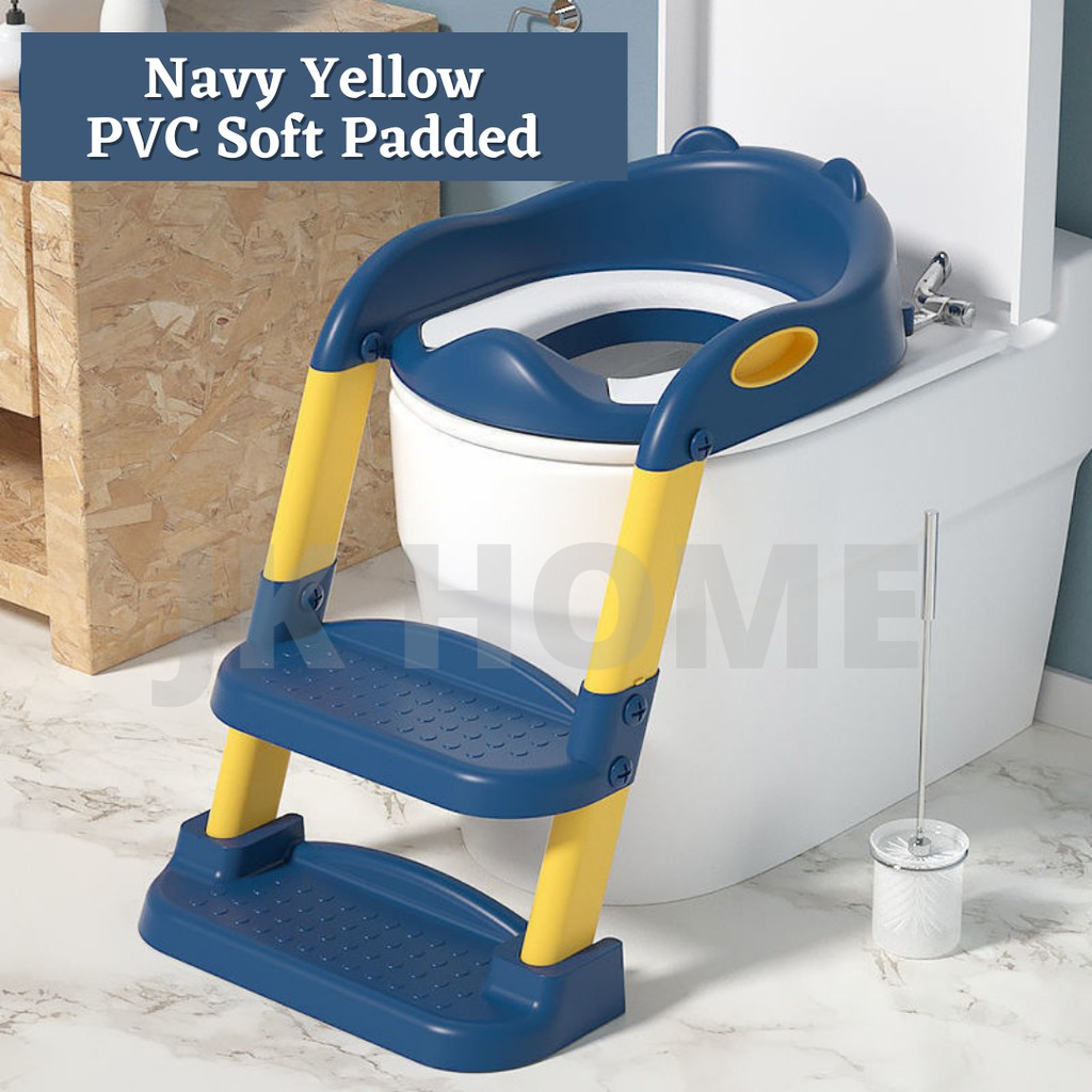 JK HOME Infant Folding Potty Seat Training Toilet Bowl Seat with Ladder for Baby Toddlers Safe Toilet Potties