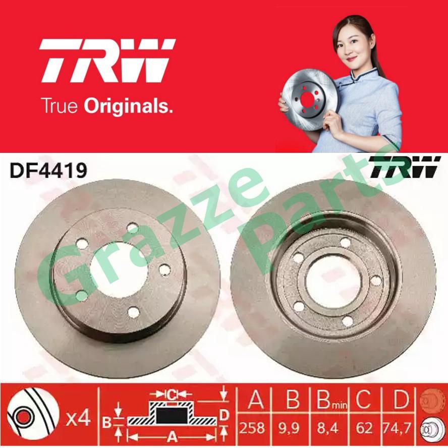 (2 pcs) TRW Disc Brake Rotor Rear for DF4419 Mazda 3 1.6 2.0 BK BL 2012 (258mm)