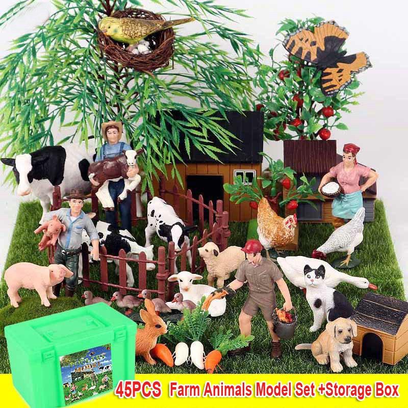 Farm Animals Toy Set With Storage Box, Farm Animal Figurines