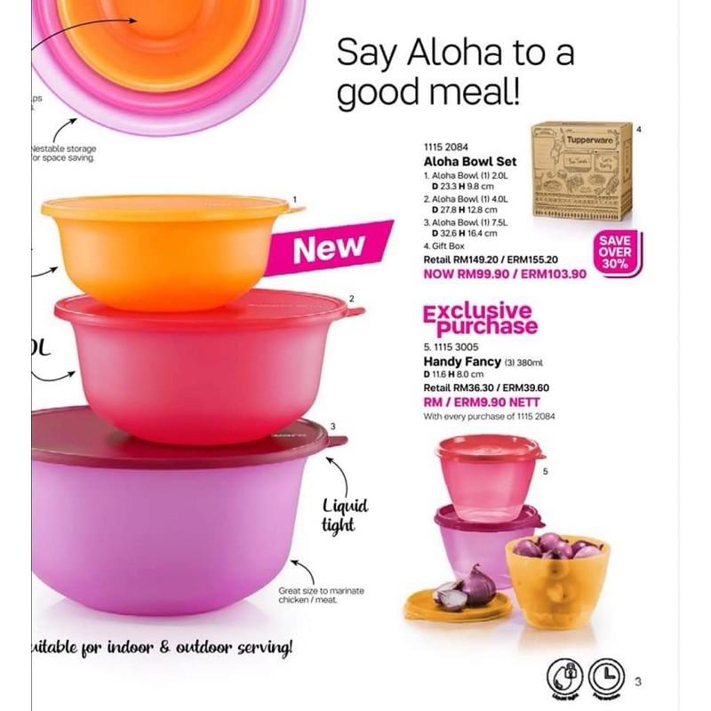 Tupperware Aloha Bowl Set With Handy Fancy (6pcs)