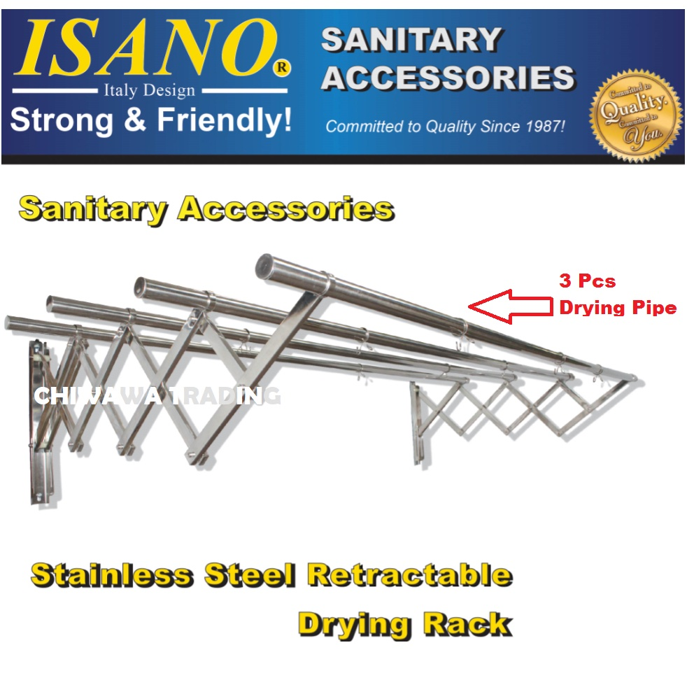 ISANO 1336DR 2.0 Meter Premium 3 Rods Stainless Steel Retractable Clothes Drying Cloth Rack NOT RUSTY Rak Penyidai Baju