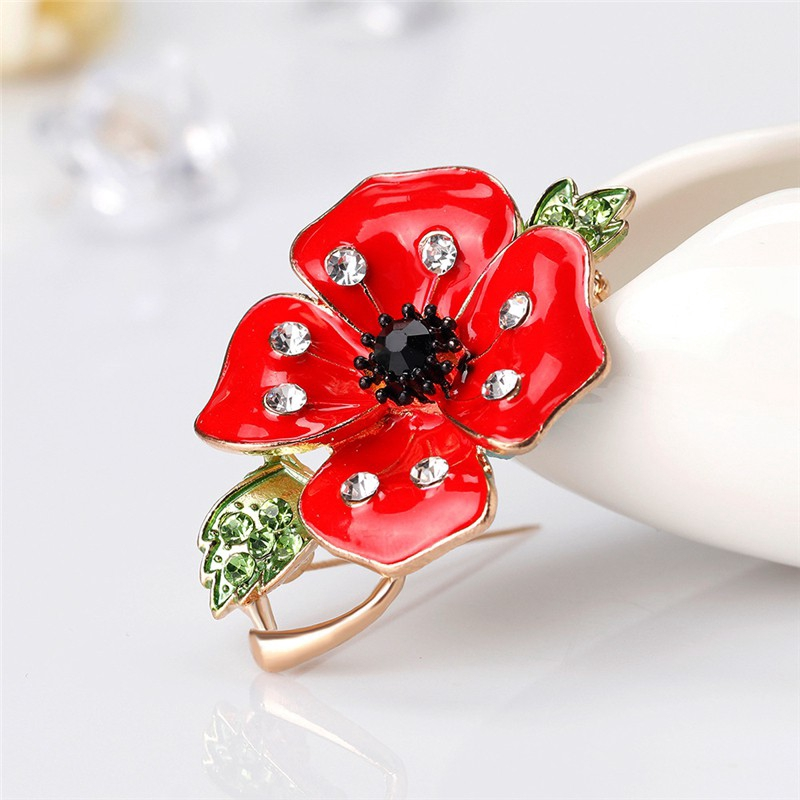 926c684f87 Red Poppy Flower Brooches Alloy Vintage Collar Pins Jewelry Gift Fashion  Brooch