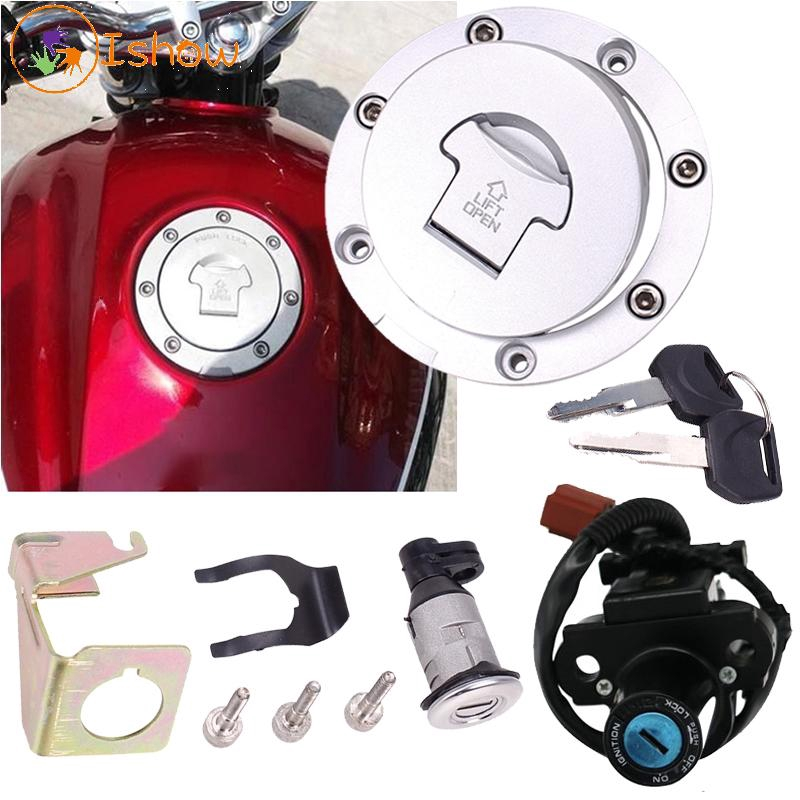 Motorcycle Ignition Switch Lock Key Gas Cap Set For Honda VTR1000 F  2001-2005