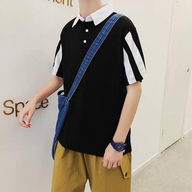 [M~2XL]Korean POLO shirt men's short-sleeved t-shirt 夏季POLO衫男短袖翻领t恤韩版潮流有带领男士宽松休闲半袖上衣服